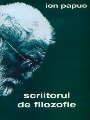cover image of Scriitorul de filozofie