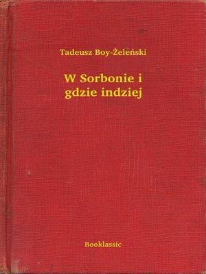 cover image of W Sorbonie i gdzie indziej