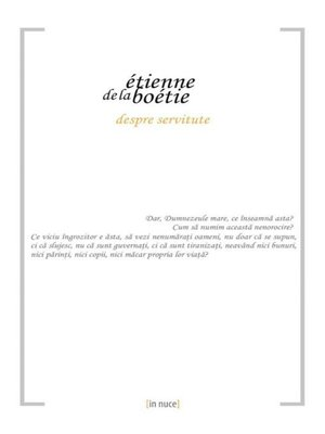 cover image of Despre servitute