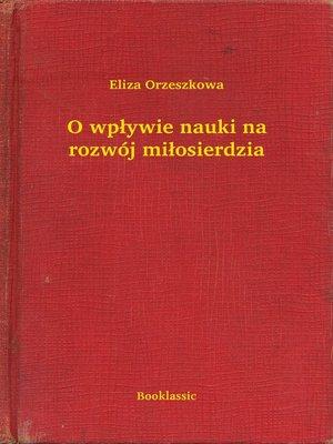 cover image of O wpływie nauki na rozwój miłosierdzia