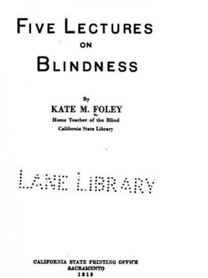 cover image of Five Lectures on Blindness