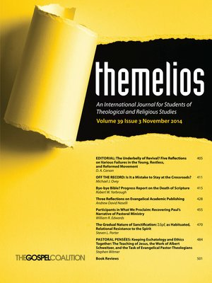 cover image of Themelios, Volume 39, Issue 3