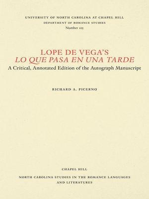 cover image of Lope de Vega's Lo que pasa en una tarde