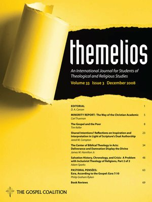 cover image of Themelios, Volume 33, Issue 3
