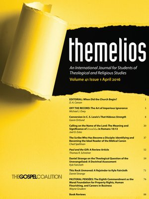 cover image of Themelios, Volume 41, Issue 1