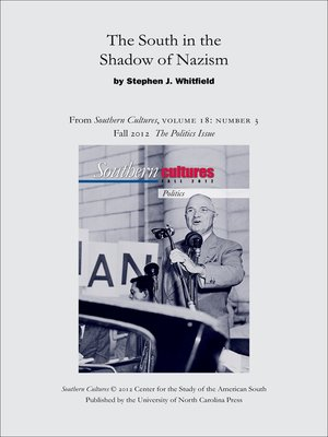 cover image of The South in the Shadow of Nazism