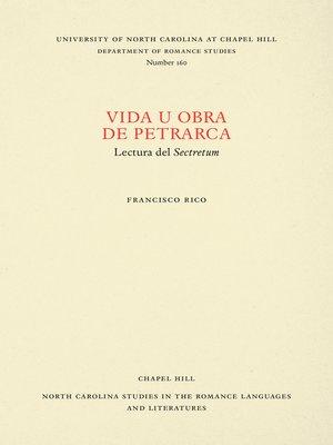 cover image of Vida u obra de Petrarca