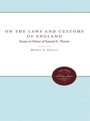 cover image of On the Laws and Customs of England