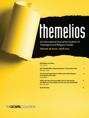 cover image of Themelios, Volume 38, Issue 1