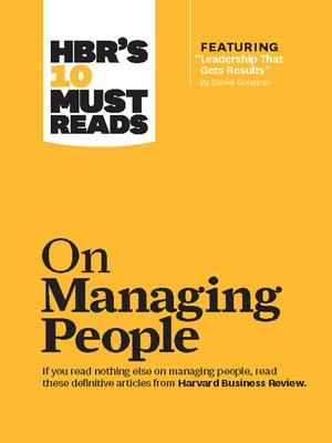 cover image of HBR's 10 Must Reads on Managing People