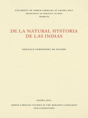 cover image of De la natural hystoria de las Indias