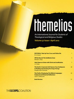 cover image of Themelios, Volume 37, Issue 1