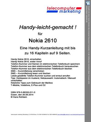 cover image of Nokia 2610-leicht-gemacht