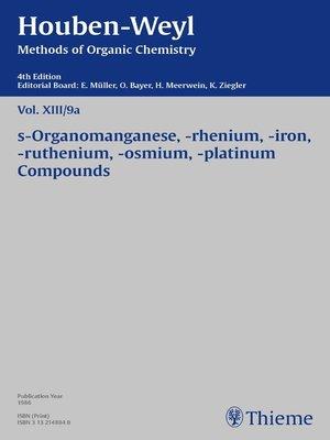 cover image of Houben-Weyl Methods of Organic Chemistry Volume XIII/9a