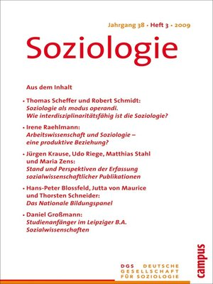 cover image of Soziologie 3.2009