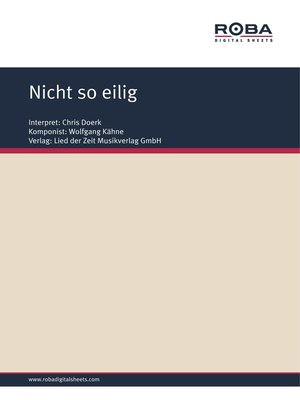 cover image of Nicht so eilig