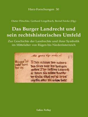 cover image of Das Burger Landrecht und sein rechtshistorisches Umfeld