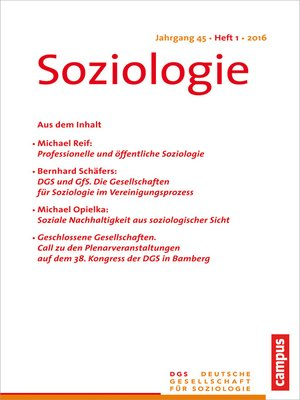 cover image of Soziologie 1.2016