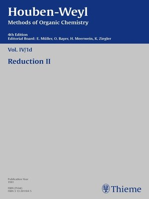 cover image of Houben-Weyl Methods of Organic Chemistry Volume IV/1d