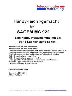 cover image of Sagem MC 922-leicht-gemacht
