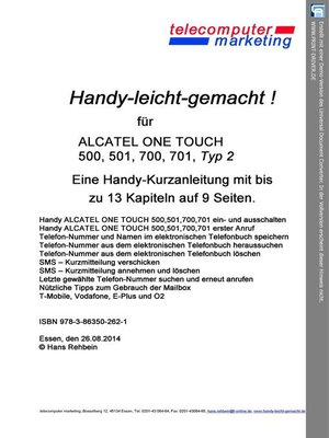 cover image of Alcatel One Touch 500, 501, 700, 701 Typ 2-leicht-gemacht