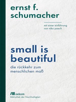 cover image of Small is beautiful