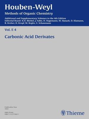 cover image of Houben-Weyl Methods of Organic Chemistry Volume E 4 Supplement
