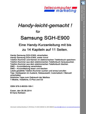 cover image of Samsung SGH-E900-leicht-gemacht