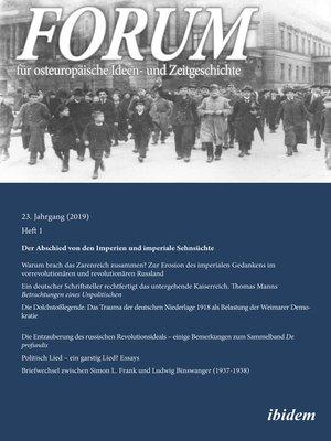 cover image of FORUM für osteuropäische Ideen- und Zeitgeschichte