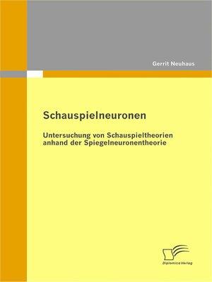 cover image of Schauspielneuronen