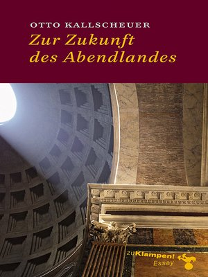 cover image of Zur Zukunft des Abendlandes