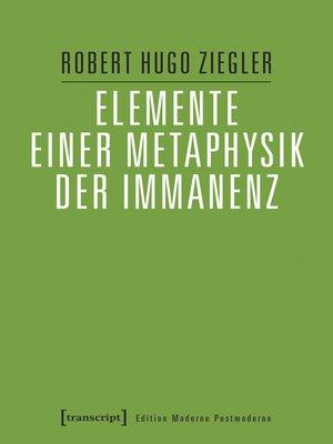cover image of Elemente einer Metaphysik der Immanenz