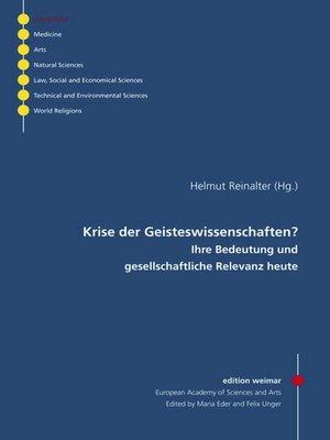 cover image of Krise der Geisteswissenschaften?