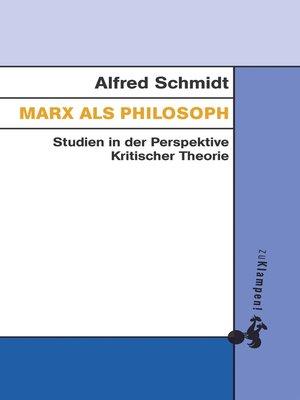 cover image of Marx als Philosoph