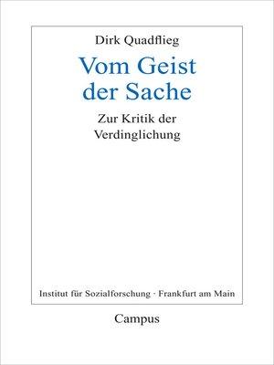 cover image of Vom Geist der Sache