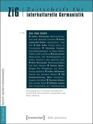 cover image of Serie Zeitschrift für interkulturelle Germanistik, Buch 6