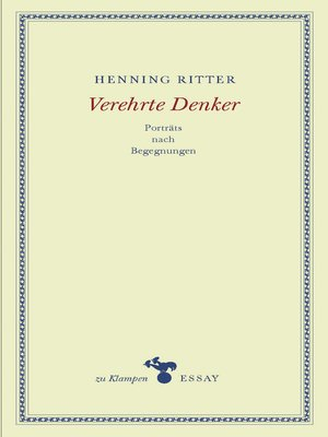 cover image of Verehrte Denker