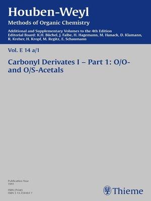 cover image of Houben-Weyl Methods of Organic Chemistry Volume E 14a/1 Supplement
