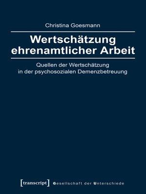 cover image of Wertschätzung ehrenamtlicher Arbeit