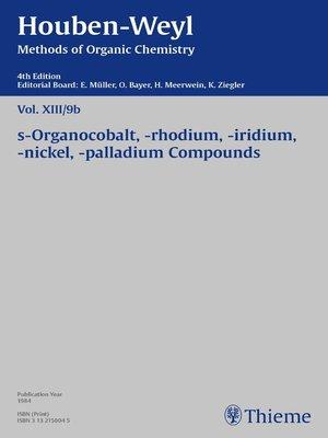cover image of Houben-Weyl Methods of Organic Chemistry Volume XIII/9b