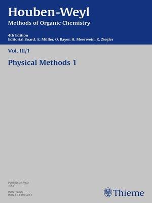 cover image of Houben-Weyl Methods of Organic Chemistry Volume III/I