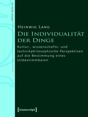 cover image of Die Individualität der Dinge