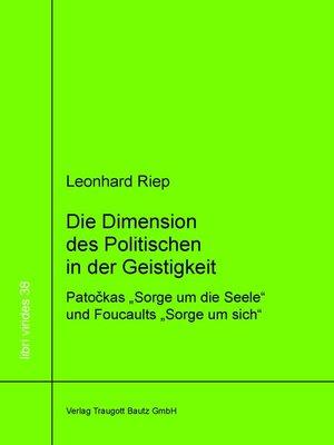cover image of Die Dimension des Politischen in der Geistigkeit