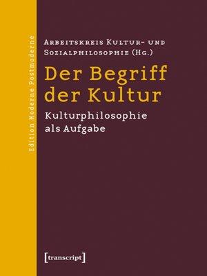 cover image of Der Begriff der Kultur