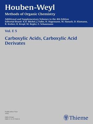 cover image of Houben-Weyl Methods of Organic Chemistry Volume E 5 Supplement