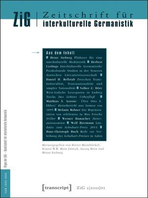 cover image of Serie Zeitschrift für interkulturelle Germanistik, Buch 3