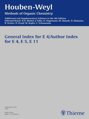 cover image of Houben-Weyl Methods of Organic Chemistry General Index E 4, E5, E 11 Supplement