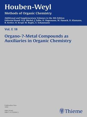 cover image of Houben-Weyl Methods of Organic Chemistry Volume E 18 Supplement