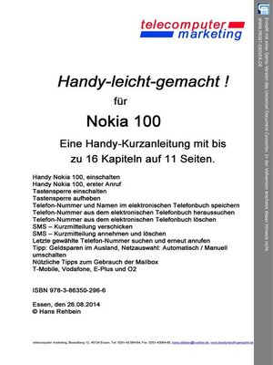 cover image of Nokia 100 leicht-gemacht