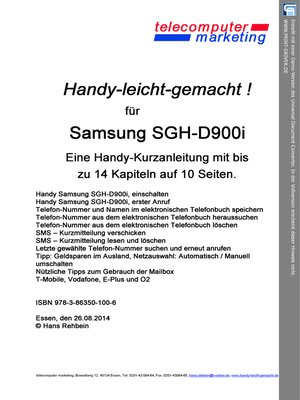 cover image of Samsung SGH-D900i-leicht-gemacht